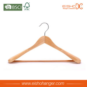 Natural Finish Wide Rounded Shoulders Outerwear Wood Coat Hanger pictures & photos