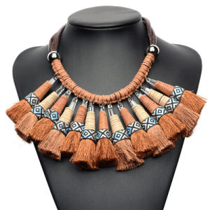 Fashion Braided Tassel Statement Choker Collar Necklace Jewelry pictures & photos