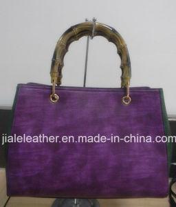 Ladies PU Handbag Wt 0022-1 with Plastic or Bamboo Handle