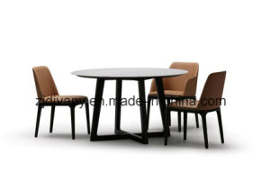 Marble Table Furniture Wooden Round Table (E-32) pictures & photos