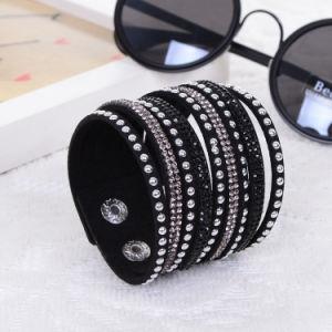 Fashion Rhinestone Multi Layer Bangle Leather Bracelet Jewelry pictures & photos