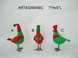 "7""Hx5""L Christmas Decoration Standing Bird, 3 Asst pictures & photos"