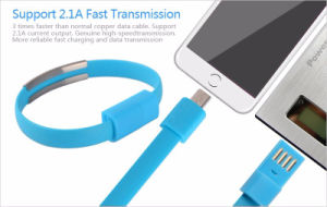 Bracelet Flat Style Micro USB Portable Charging Data Cable for Mobile Phone pictures & photos