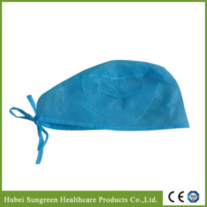 Disposable Non-Woven Nurse Cap with Blue Ties pictures & photos