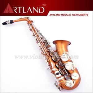 Eb Key Brown & Silver Lacquer Finish Engraving Professional Alto Saxophone (AAS6606) pictures & photos