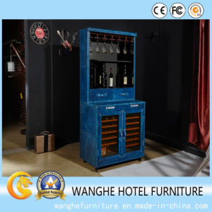 Home Furniture Antique Blue Wine Cabinet for Glass pictures & photos