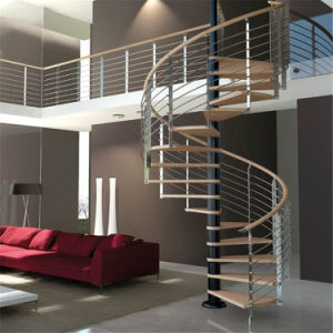 Factory Supply Spiral Staircase with Wooden Tread Stainless Steel Railing pictures & photos