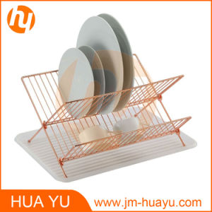 Foldable Golden Color Dish Rack with Dain Board pictures & photos