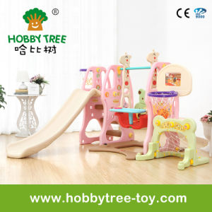 2017 Popular Style Indoor Plastic Slide and Swing with Football Hoop (HBS17002D) pictures & photos