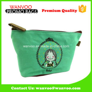 Folding Green Handle Canvas Cosmetic Bag with Zipper pictures & photos