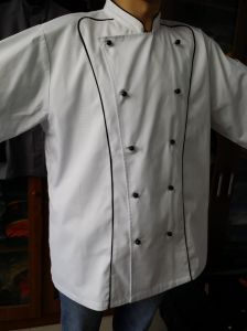 Double Removable Buttons Chef Coat, Chef Jacket with Piping pictures & photos