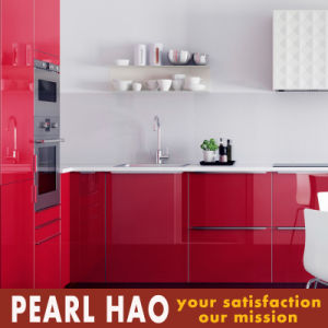 Modern Red High Gloss Acrylic Wood Kitchen Cabinet pictures & photos