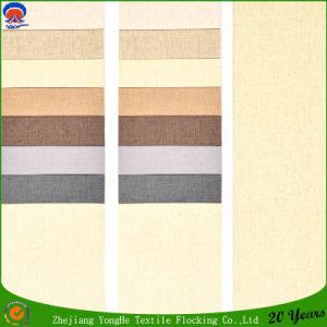 Coating Fr Blackout Curtain Fabric Waterproof Flocking Polyester Linen Window Curtain Fabric pictures & photos