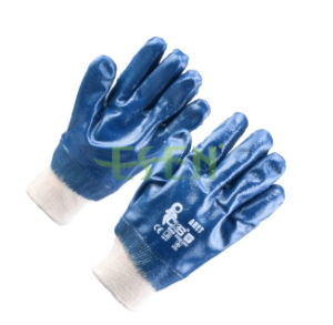 Blue Nitrile Coated Cotton Liner Knit Wrist Work Glove (D15-Y1) pictures & photos