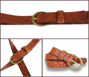 Fashion Braided Lady′s Leather Belt pictures & photos