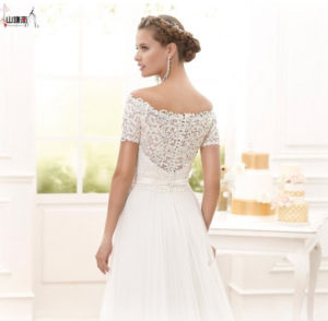 Vintage off Shoulder Half Sleeves Lace Edge A-Line Wedding Dress with Illusion Waistband pictures & photos