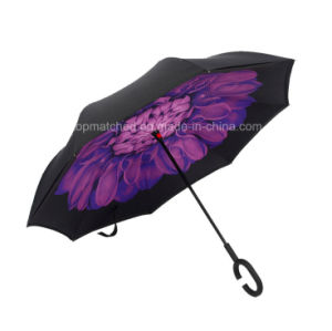 New Invention Upside Down Inverted Reverse Umbrella with C Handle pictures & photos