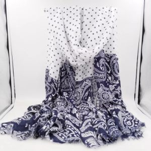 Joint Paisley & Dots Printed Long Polyester Women′s Scarf (HWBPS36) pictures & photos