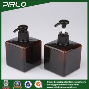 250ml Amber Color Squared Plastic Cosmetic Shampoo/Body Lotion Bottle with Pump Sprayer pictures & photos
