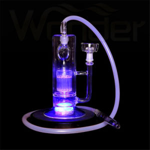 Super Cheap Glass Hookah with Pink Red Purple LED pictures & photos