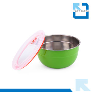 Colorful Stainless Steel Mixing Bowl & Salad Bowl with Plastic Lid pictures & photos