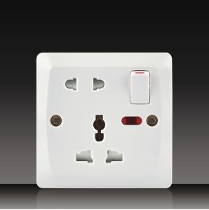 1 Gang Wall Switch with 2 Pin Socket+Mf Socket (BK16) pictures & photos