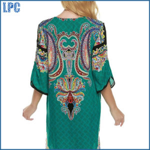 Ployester Breathable National Wax Print Women Long Shirt pictures & photos