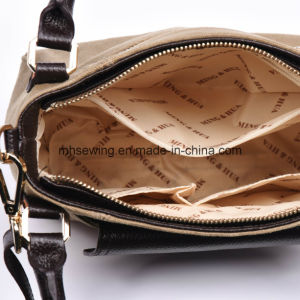 Elegant Crossbody Bag Canvas Metal Chain Shoulder Bag with Genuine Leather Trim pictures & photos