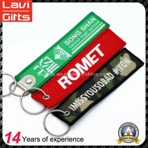 Promotional Polyester Double Side Embroidery Label Keychain pictures & photos