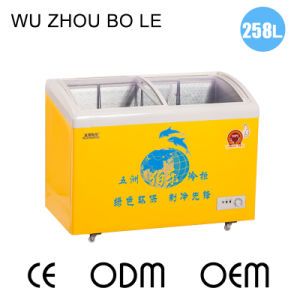 Sliding Toughened Coating Glass Door Ice Cream Mini Fridge