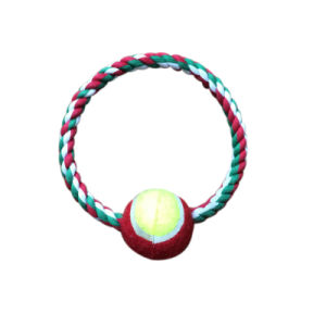 Sturdy Pet Dog Cotton Rope Chews Toy for Training Playing with One Tennis Ball pictures & photos