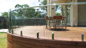 Curved Glass Railing with Spigot Support pictures & photos