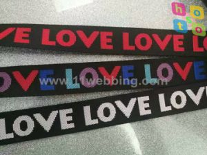 Love Logo Jacquard Webbing with Fake Nylon Material pictures & photos