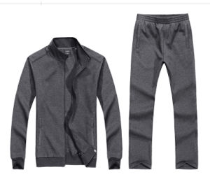 Activewear 100% Cotton 280GSM Men Blank Sports Zipper Sweatsuit pictures & photos