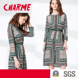 Long Sleeve Folk Printing Chiffon Shirt Dress pictures & photos