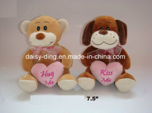Plush Valentine Bear with Heart Shape Printing Material pictures & photos
