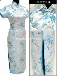 Polyester Stretch Satin Print Fabric for Cheongsam