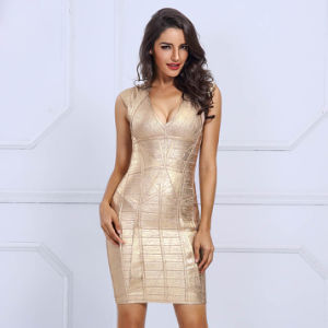 Deep V Bandage Gold Stamping Night Club Dresses pictures & photos