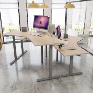 Office L Desk with Corner Shaped Tbaletop pictures & photos