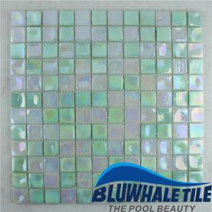 Building Material Green Blend Glass Mosaic for Bathroom Pool Design (BGI001)