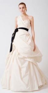 One Shoulder Taffeta Floor Length Wedding Dress (WDJY102)