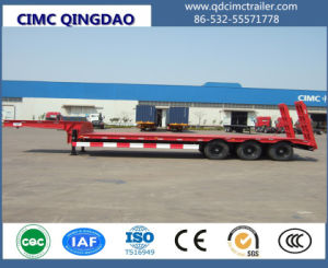 Cimc 3 Fuwa Axles 80 Tons Flat Lowbed Semi Truck Trailer Chassis pictures & photos