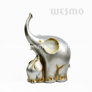 Baby Elephant and Mother Elephant Resin Tabletop Statue (WTS0005A) pictures & photos