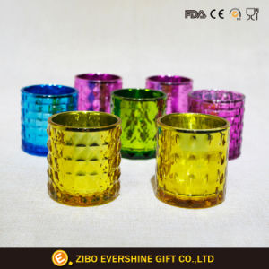 Dark blue Glass Candle Cup Embossed Candle Holders pictures & photos