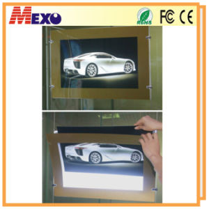 Steel Wire Hanging Magnetic Golden Frame Acrylic LED Light Boxes pictures & photos