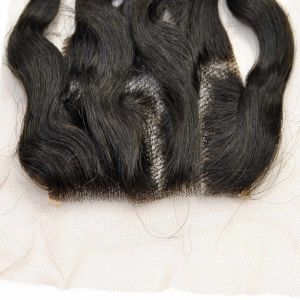 Brazilian Virgin Hair Hand Tied Three Parted Deep Wave Lace Closure pictures & photos