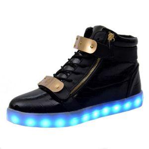 Men Women USB Charging Metal Magic Tape Flashing Sneakers pictures & photos