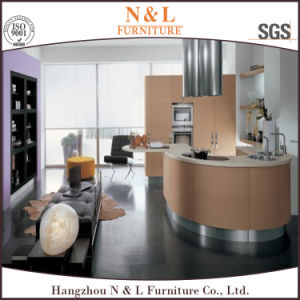 Wood Veneer Modern Kitchen Cabinet with Simple Design pictures & photos