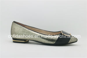 Chic Design Shiny Leather Lady Ballet Shoes with Metal Heel pictures & photos