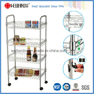NSF 4 Tiers Adjustable Chrome Metal Wire Kitchen Trolley with Basket (CJ-B1189) pictures & photos